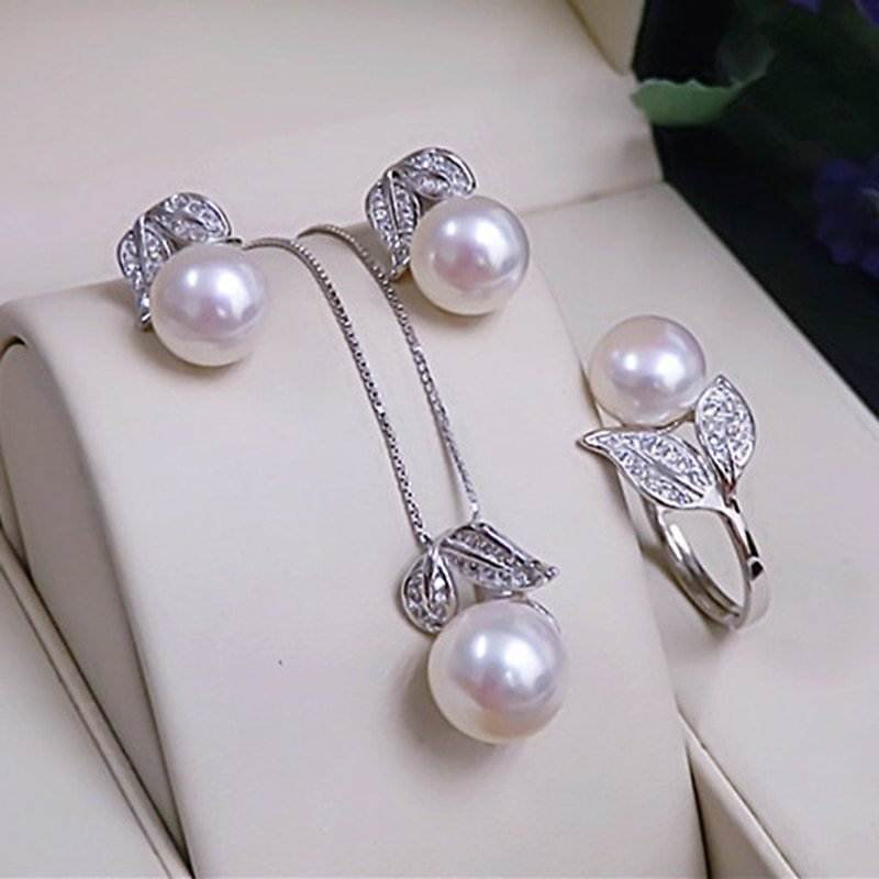 US $13.88 40% OFF|Pearl Earrings Necklace Pendant Ring For Women Natural Freshwater White Pearl Jewelry Set 925 Sterling Silver Jewelry Sets Gift|Jewelry Sets| - AliExpress