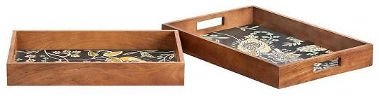42% OFF ! Home Decorators Collection Floral and Wood Decorative Rectangle Tray (Set of 2)-DTCTD 754214A