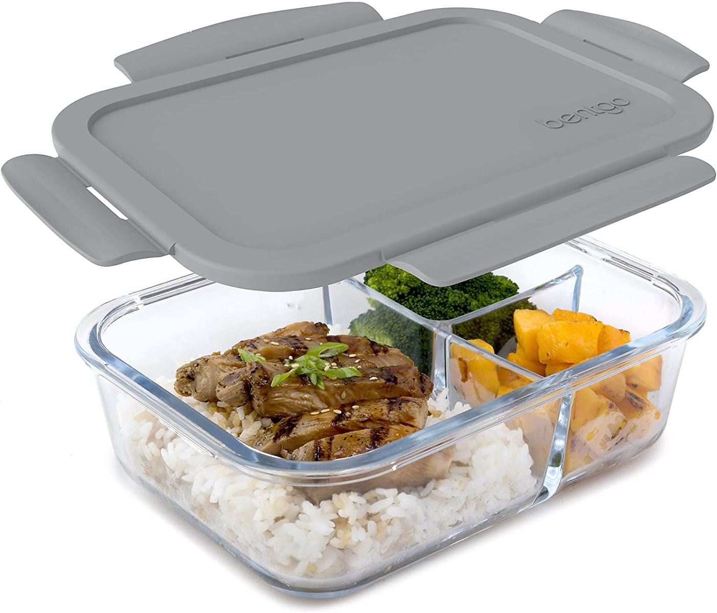 Bentgo Glass (Gray) – Leak-Proof, 3-Compartment Oven-Safe Glass Lunch Container
