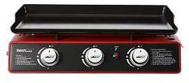 Royal Gourmet 3-Burner Propane Griddle, Portable Table Top 24-Inch Gas Grill in Red-PD1301R