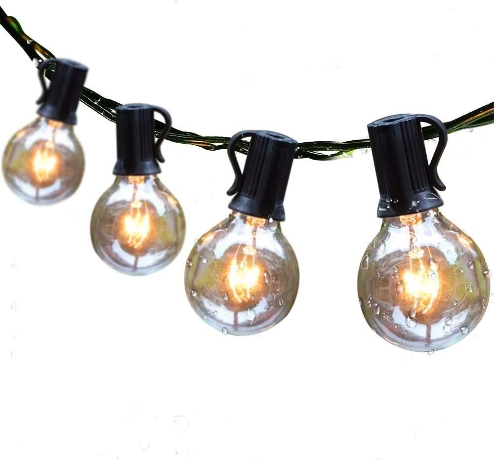 Guddl Outdoor String Lights 25ft Patio Lights with 27 G40 Bulbs (2 Spare) Connectable Globe String Lights for Party Tents Patio