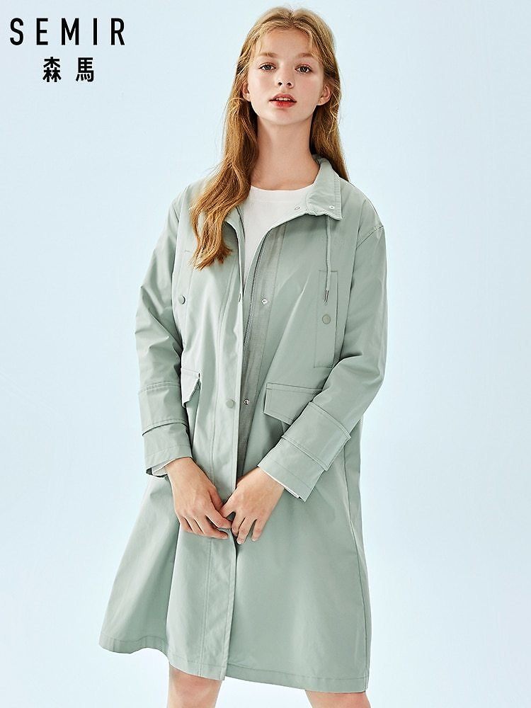 SEMIR Long Trench Women 2020 Stand Up Collar Long Trench Coat Women Outwear for Autumn