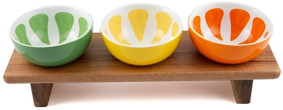 Thirstystone Footed Wood Board with 3 Ceramic Citrus Bowls