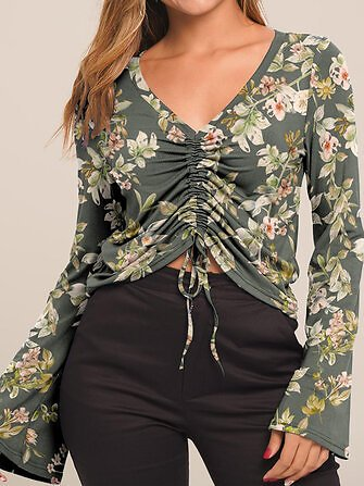 Floral Print V-neck Long Sleeve Drawstring Short Blouse Tops from Women's Clothing on Banggood.com