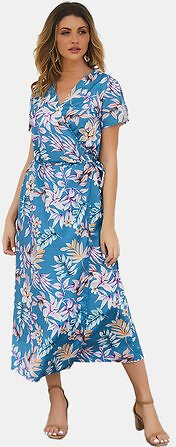 Short Sleeve V-neck High Low Hem Summer Beach Maxi Dress Dresses from Women's Clothing on Banggood.com