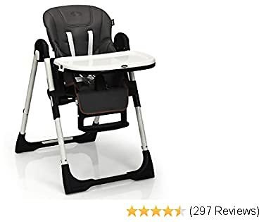 INFANS High Chair for Babies & Toddlers, Foldable Highchair with Multiple Adjustable Backrest, Footrest and Seat Height, Removable Tray, Detachable PU Leather Cushion, Built-in Rear Wheels (Dark Grey)