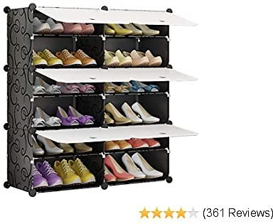 KOUSI Portable Shoe Rack Organizer 24 Pair Tower Shelf Storage Cabinet Stand Expandable for Heels, Boots, Slippers, 6 Tier Black