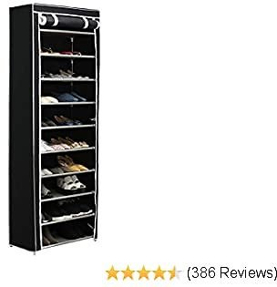 Function Home 10-Tier Shoe Rack with Dustproof Cover 30 Pair Shoe Organizer Shoe Rack Tower Zippered Storage Shoe Cabinet Ideal for Hallway Corridor (Black)