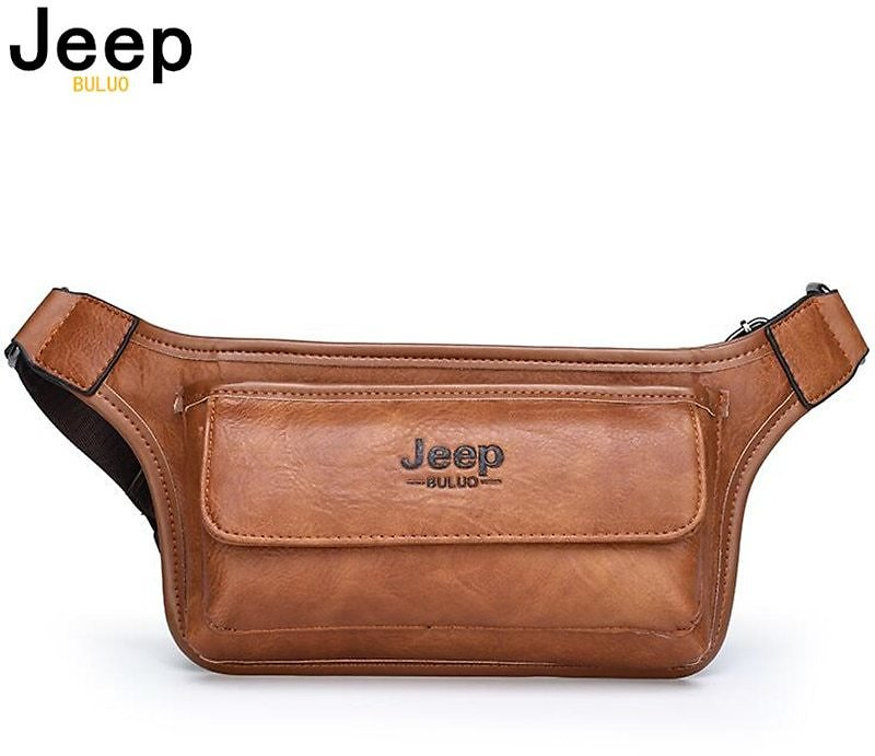 JEEP BULUO Brand Casual Functional Money Phone Belt Bag Chest Pouch Waist Bags Unisex Pack Sling Bag Leather Hip Bag