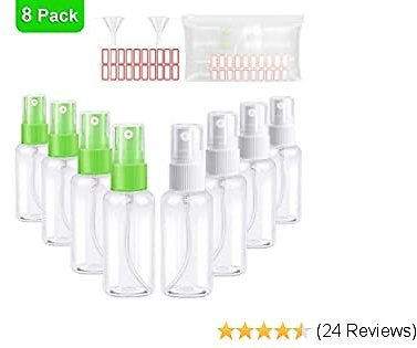 Small Spray Bottles, 30ml/1oz Empty Plastic Mini Spray Bottles, Small Fine Mist Spray Bottles with 2Pcs Funnels and 20Pcs Labels for Rubbing Alcohol,Essential Oil, Perfume, M/U Remover (8pack)