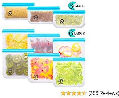 Reusable Storage Bags - Pack BPA FREE Freezer Food Container Ziplock for Sous Vide Liquid Lunch Snack Sandwich Fruits Silicon Bag Zip Lock Size Gallon Large Silicone Plastic Conteiner (Bags-9)