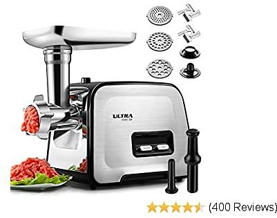 ALTRA Stainless Steel Electric Meat Grinder, Meat Mincer & Sausage Stuffer, [2000W Max] [Concealed Storage Box] Sausage & Kubbe Kit Included, 3 Grinding Plates, 2 Blades, Home Kitchen & Commercial Use