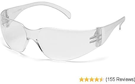 Pyramex Intruder Safety Eyewear, Clear Frame, Clear-Hardcoated Lens