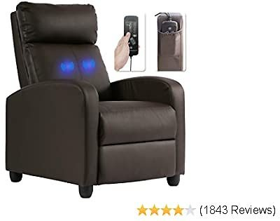 Recliner Chair for Living Room Massage Recliner Sofa Reading Chair Winback Single Sofa Home Theater Seating Modern Reclining Chair Easy Lounge with PU Leather Padded Seat Backrest (Brown)