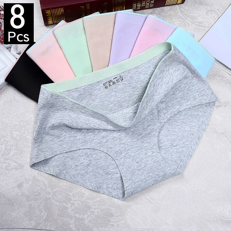 US $1.08 46% OFF 1/8Pcs Briefs for Women Fashion Sexy Woman Panties Solid Seamless Panties Mid Rise Cpanties for Women Cotton Sexy Underwear Girl women's Panties  - AliExpress