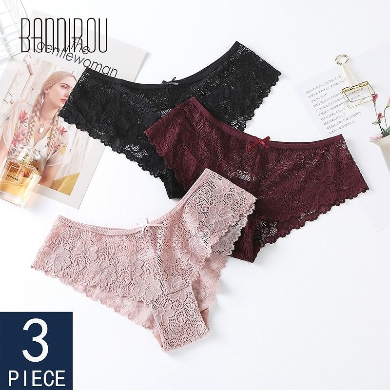 US $10.32 14% OFF 3 Pcs Panties For Woman Underwear Sexy Lace Breathable Female Panty Transparent Briefs Sexy Underwear Women High Quality 2020 women's Panties  - AliExpress