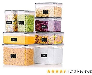 ME.FAN Food Storage Containers [Set of 8] Airtight Storage Keeper with 24 Chalkboard Labels Ideal for Cereal, Sugar, Flour, Baking Supplies - Clear Plastic with Black Lids