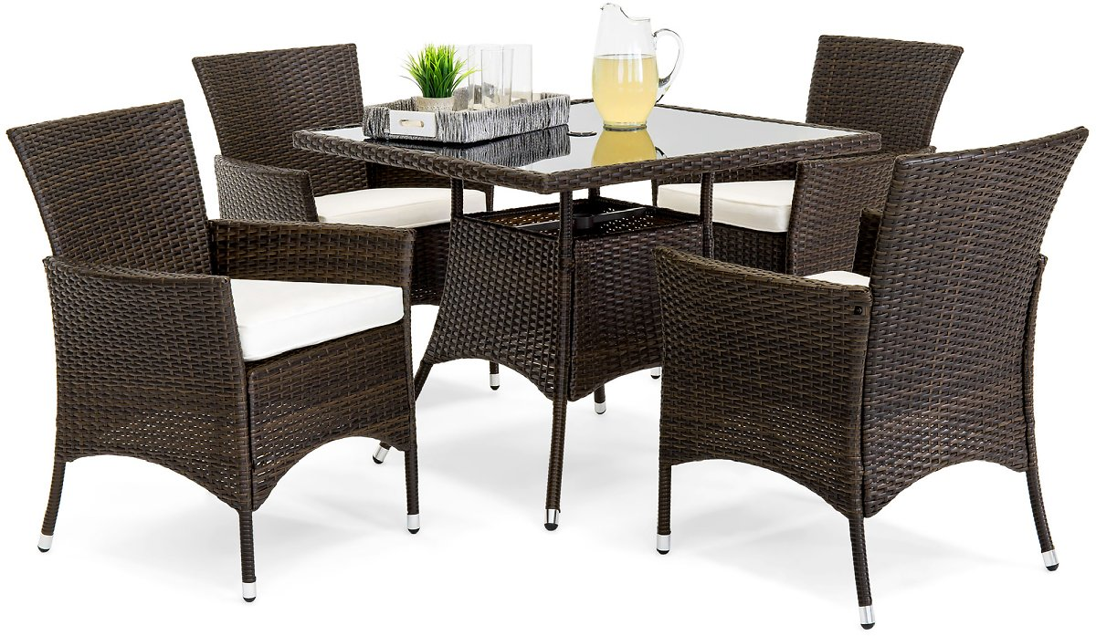 Best Choice Product 5-Piece Indoor Outdoor Wicker Patio Dining Set Furniture w/ Table, Umbrella Cut Out, 4 Chairs -Brown