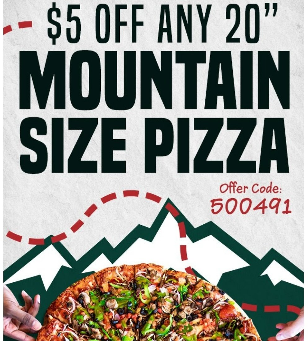 $5 Off Any $20 Mountain Mike's Pizza