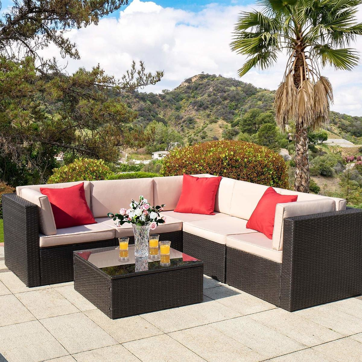 Walnew 6 Pieces Outdoor Furniture Patio Sectional Sofa Sets