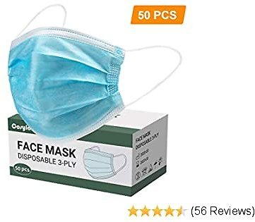 COSYLAND 100 PCS Disposable Face Masks Cover 3-Ply Breathable Protective Safety Filter Dust Masks