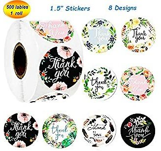Thank You Stickers Roll of 8 Floral Designs 500 Pcs