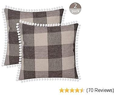 Buffalo Plaid Throw Pillow Covers Burlap Country Decoration
