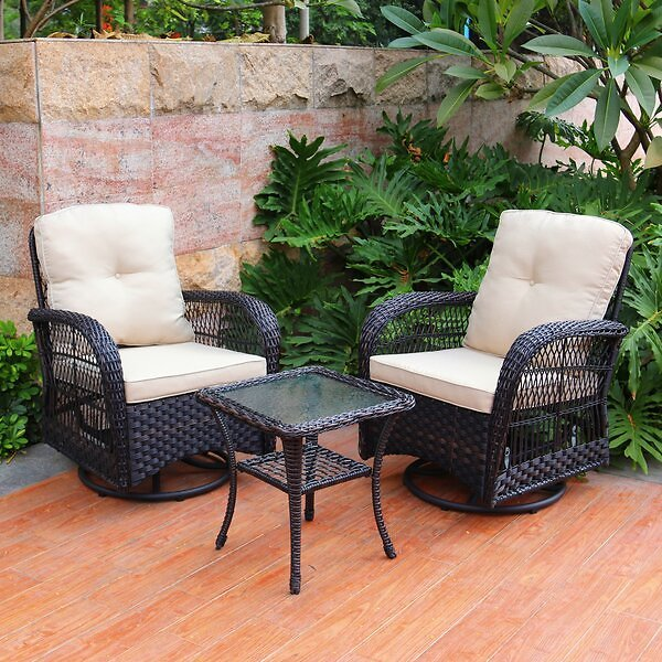 Melendy Swivel Conversation 3 Piece Seating Group with Cushions