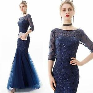 Chic Elegant Short Sleeve Sequins Tulle Mermaid Dresses Party Prom Evening Gown