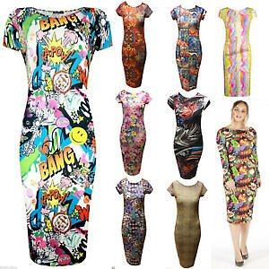 NEW WOMENS LADIES BARBIE DOLL CARTOON GRAFFITI PRINT LONG MIDI LENGTH DRESS 8/14