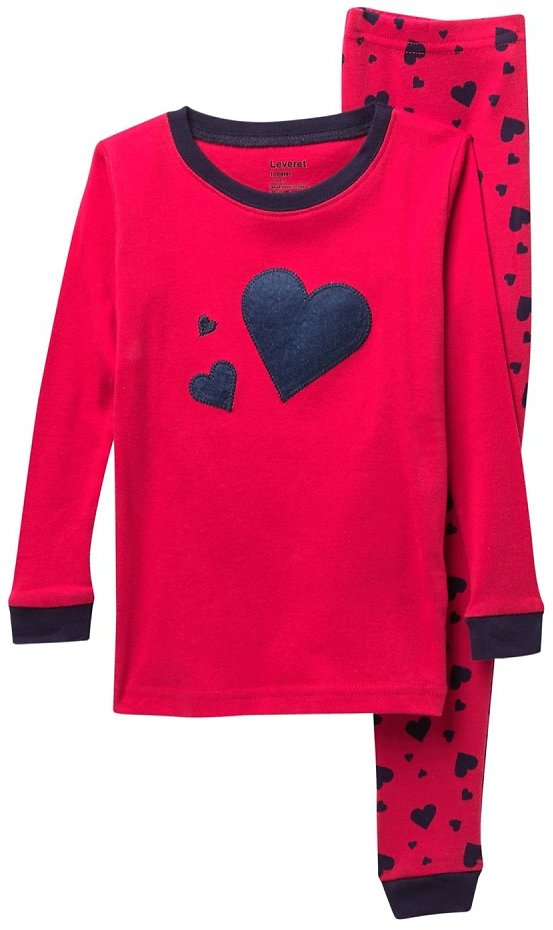 Leveret | Navy Hearts 2-Piece Pajama Set (Baby, Toddler, Little Girls, & Big Girls) | Nordstrom Rack