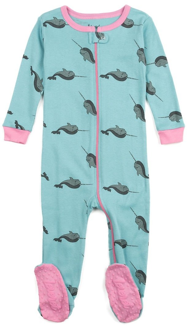 Leveret | Whale Print Footed Pajama Sleeper (Baby Girls & Toddler) | Nordstrom Rack