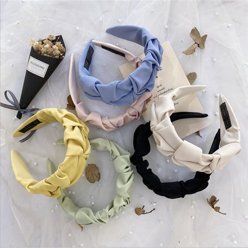 Fashion Hair Accessories Wrinkled Headband Women Candy Solid Color Wide-brim Knotted Face Wash Hairband Headbands Girl Hair Band