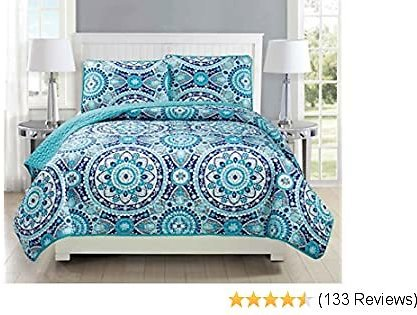 Mk Collection Twin/Twin Extra Long 2pc Bedspread Coverlet Quilted Floral Turquoise Teal Blue Grey Over Size New #185 70