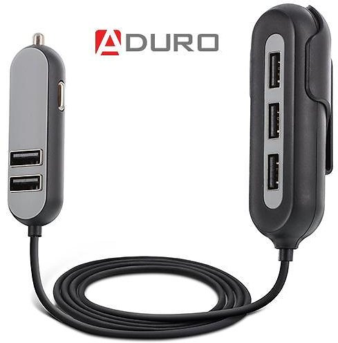 Aduro PowerUp Passenger 5 Port USB Car Charger with Backseat Clip