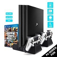 3 IN 1 for PS4/PS4 Slim/PS4 PRO Vertical Stand with Dual Controller Charger Station Games for Sony Playstation 4 Cooling Fan | Wish