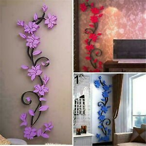 3D Removable Flower Wall Stickers Decals Vinyl Mural Art Home Room DIY Decor US