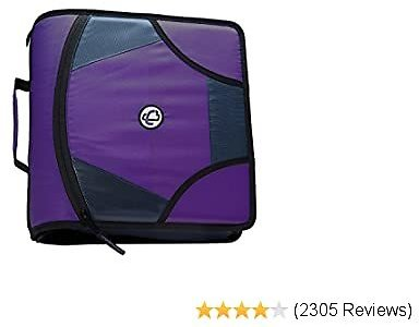 Case-it King Sized Zip Tab 4-Inch D-Ring Zipper Binder with 5-Tab File Folder, Purple, D-186-PUR-18