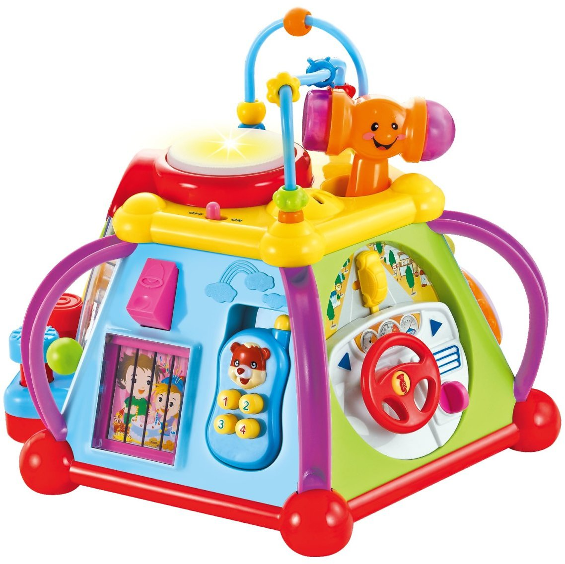 Musical Activity Cube Play Center Educational Learning Baby Toys for Toddlers Kids Girls Boys -15 Different Activities and 6 Sid