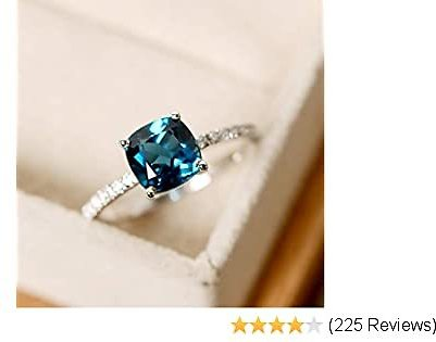 Women's Ring, 1PCS GerTong Elegant Silver Plated Flash Square Drill Zircon Blue Diamond Luxury Anniversary Engagement Ring Jewelry Gifts for Women Lady Girls - 7#