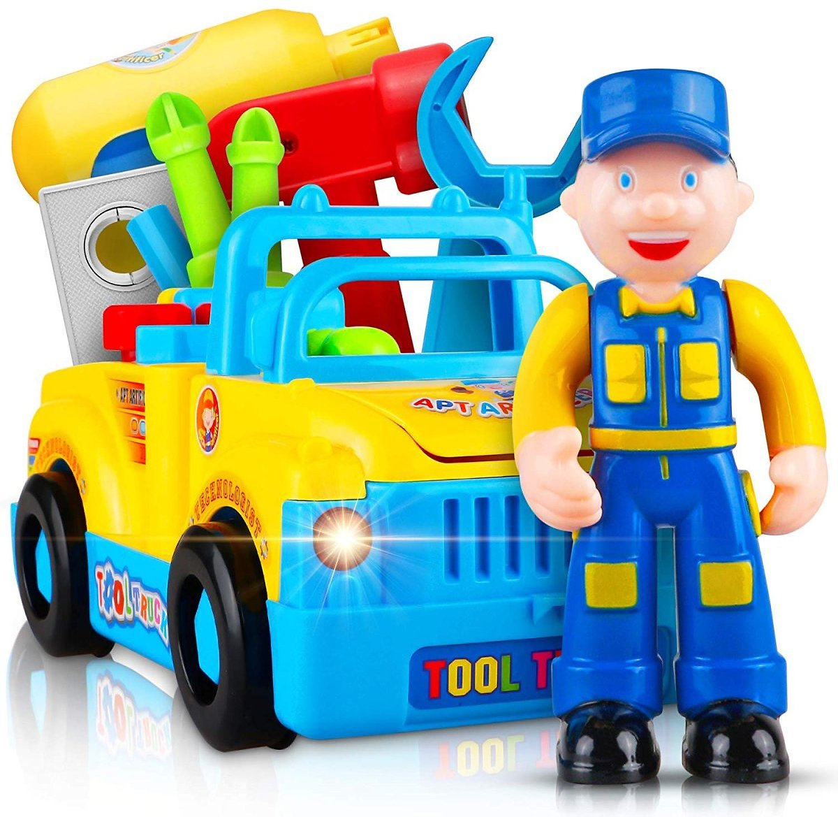 Take Apart Truck Learning Toys for 3 Year Old Boys & Girls- Vehicle Playset with Lights, Sounds, Drill and Tools for Kids