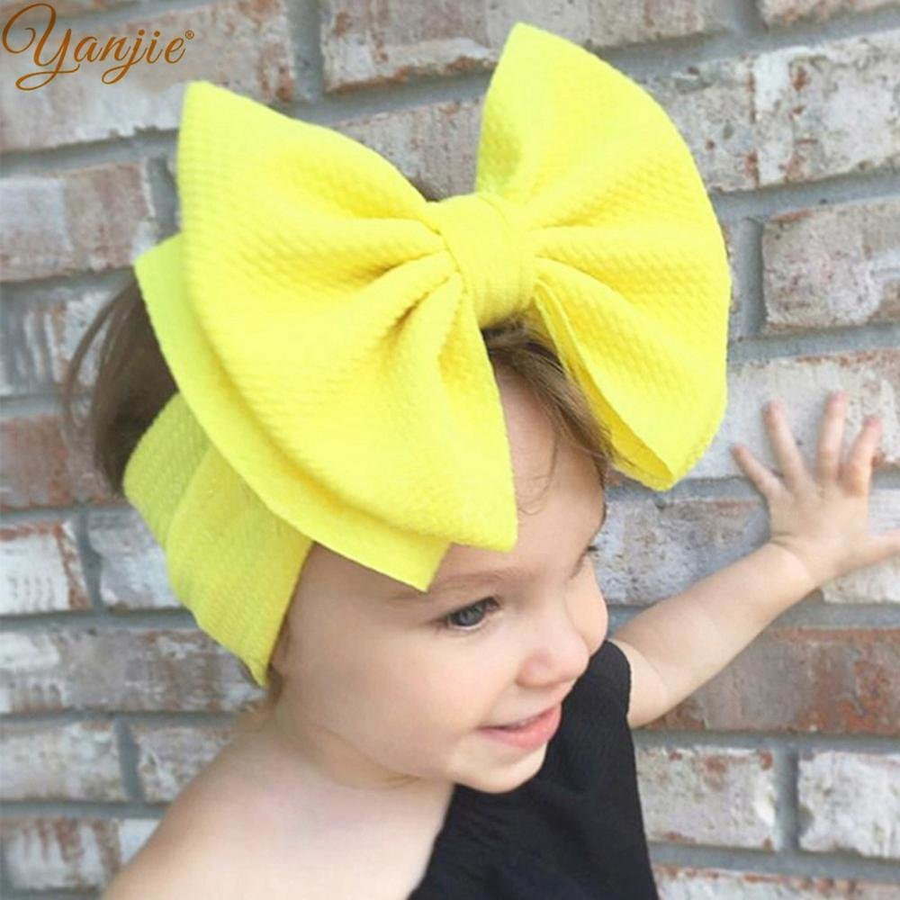 US $2.25 |7'' Large Double Layer Hair Bow Headband Girls 2020 Hot Sale Elastic Hair Bands Kids Solid Turban Head Wrap Hair Accessories|Hair Accessories| - AliExpress