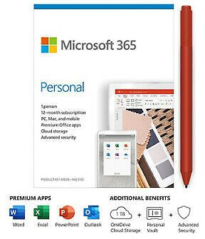 Microsoft 365 Personal 1 Year Subscription For 1 User + Surface Pen Poppy Red 472000142071