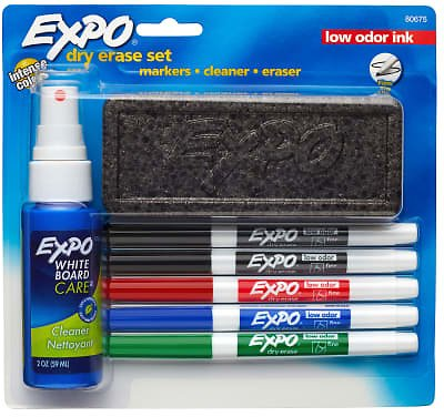 EXPO2® Low-Odor Dry-Erase Starter Kit, Fine-Point, 5 Markers, Black (2), Red, Blue, Green