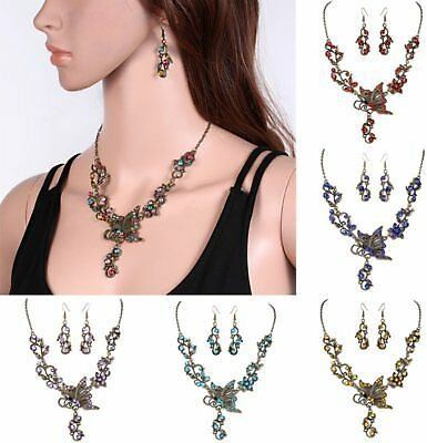 Fashion Rhinestone Women Necklace Earring Jewelry Set Wedding Engagement Gifts