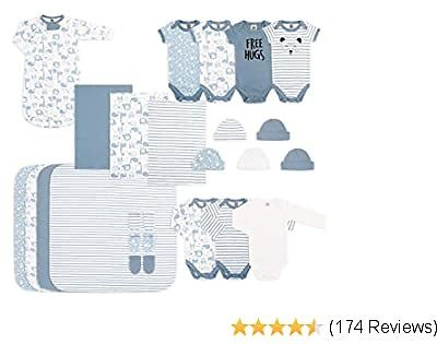 The Peanutshell Newborn Essentials Layette Gift Set for Baby Boys or Girls, 23 Piece, Fits Up to 3 Months