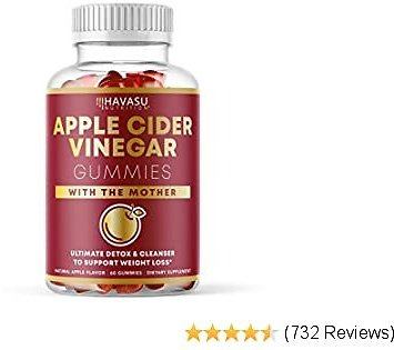 Havasu Nutrition Apple Cider Vinegar Gummies for Detox Cleanse & Belly Control; Organic ACV with Mother Enzyme; 60 Vegetarian Gummies (60 Ct)