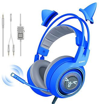 Somic G952S Blue Cute Gaming Headset 3.5mm Plug Wired Stereo Sound Headphone with Microphone