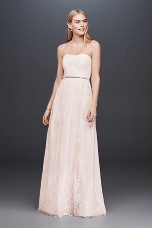 Soft Floral Lace Sheath Gown with Blush Lining | David's Bridal