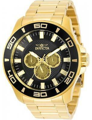 Invicta Men's Watch Pro Diver Quartz Black Dial Yellow Gold Bracelet 30784 886678364794
